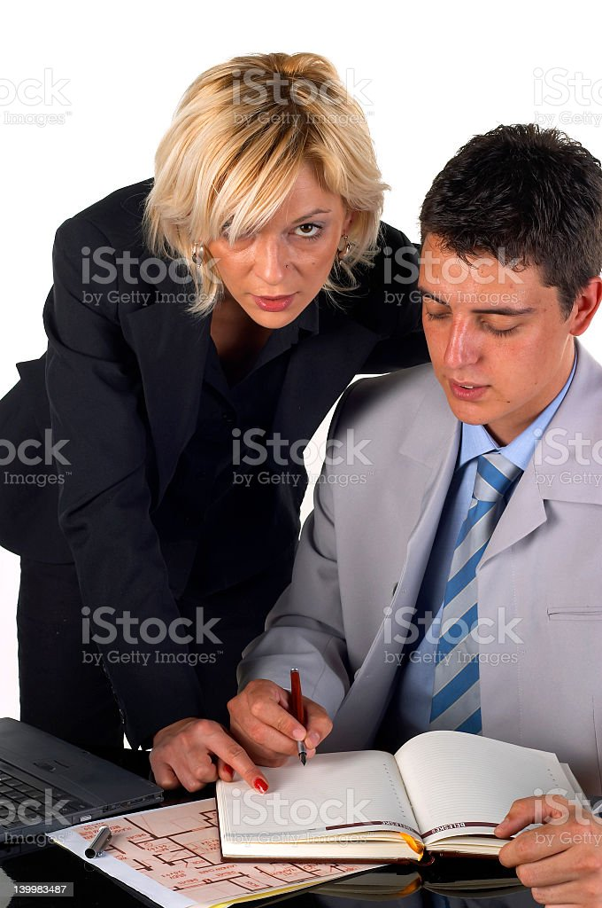 Businessman With a Secretary royalty-free stock photo