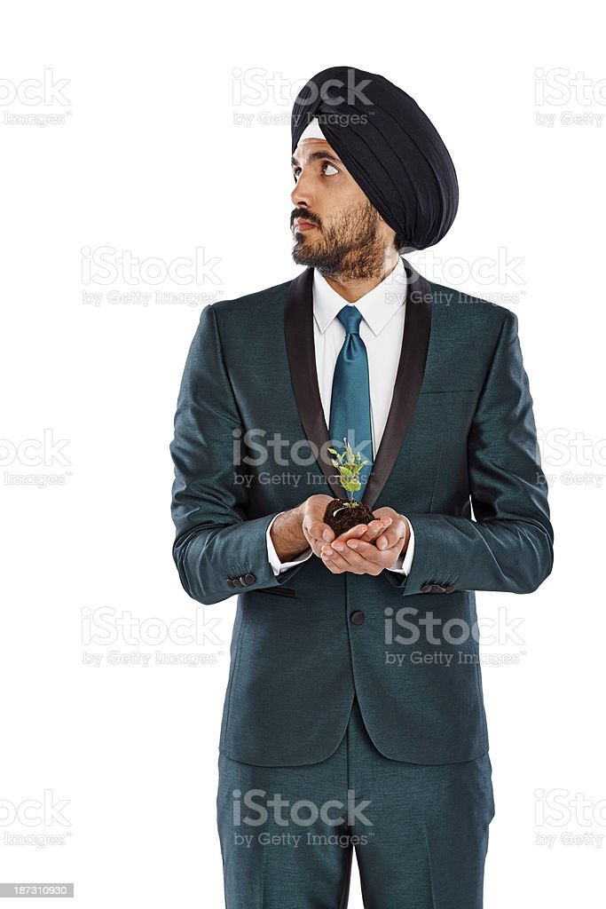 Businessman with a seedling looking at copyspace royalty-free stock photo