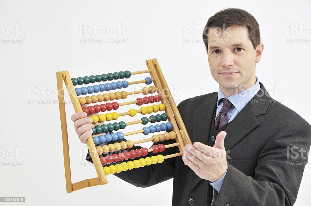 Businessman With Abacus royalty-free stock photo
