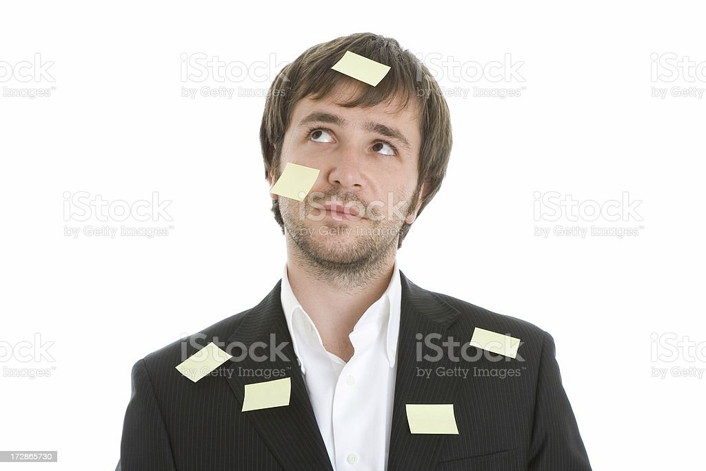 Businessman with adhesive notes royalty-free stock photo