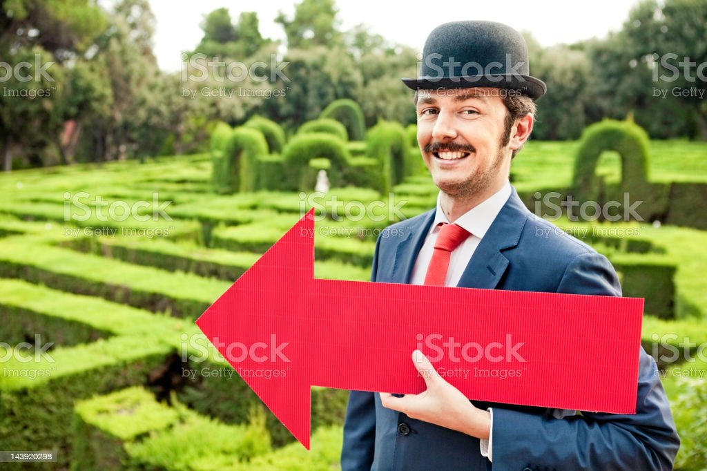 Businessman with an arrow royalty-free stock photo