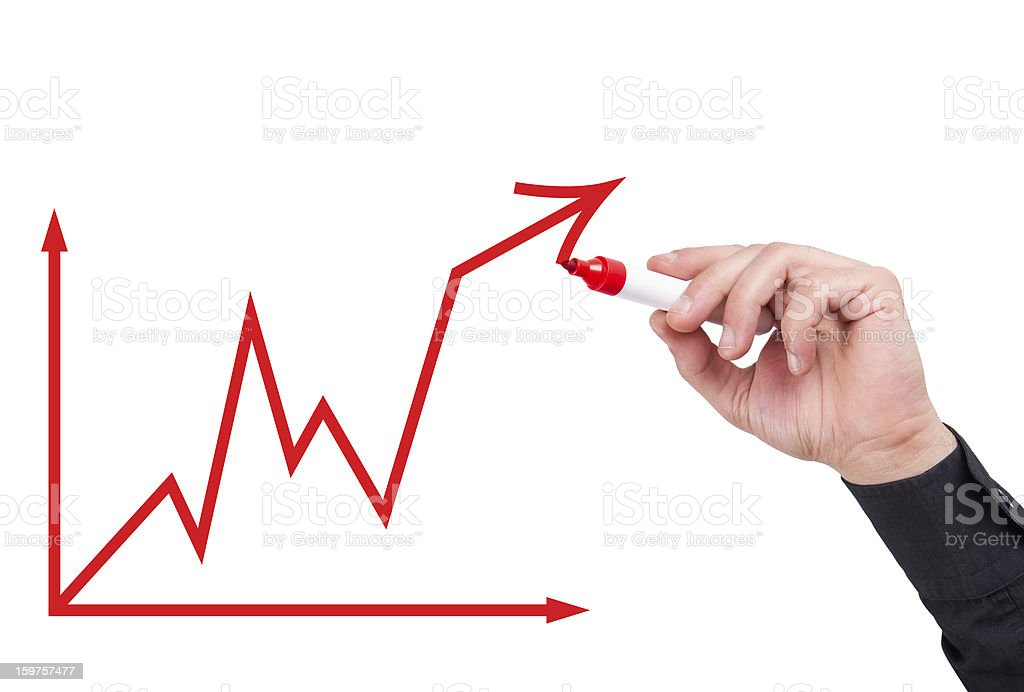 Businessman with an Business Graph stock photo