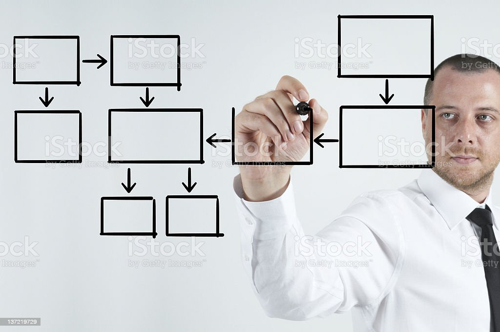 Businessman with an empty diagram royalty-free stock photo