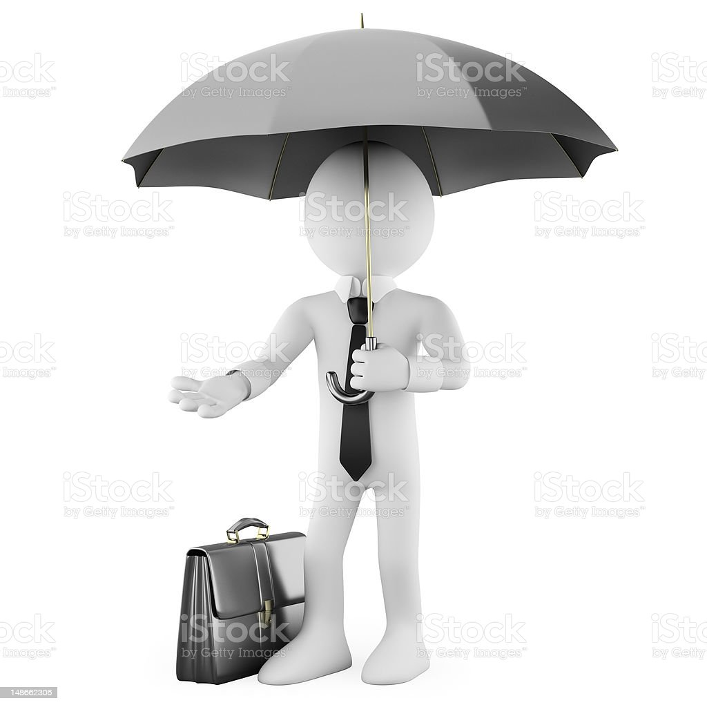 Businessman with an umbrella and a briefcase royalty-free stock photo