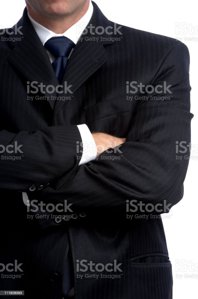 Businessman with Arms Crossed Isolated on White Background stock photo