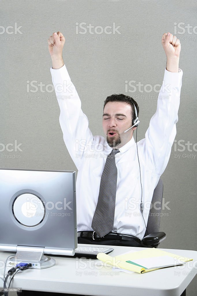 Businessman with arms up royalty-free stock photo