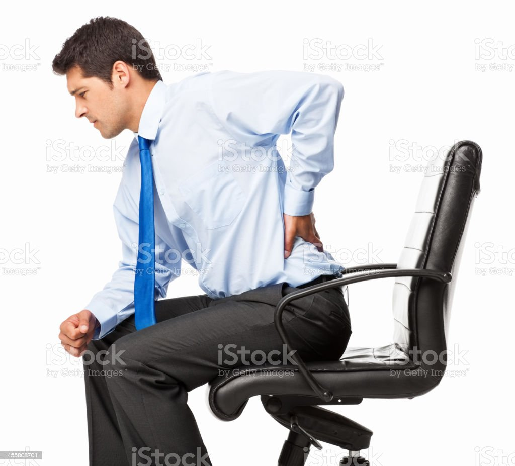 Businessman With Backache - Isolated royalty-free stock photo