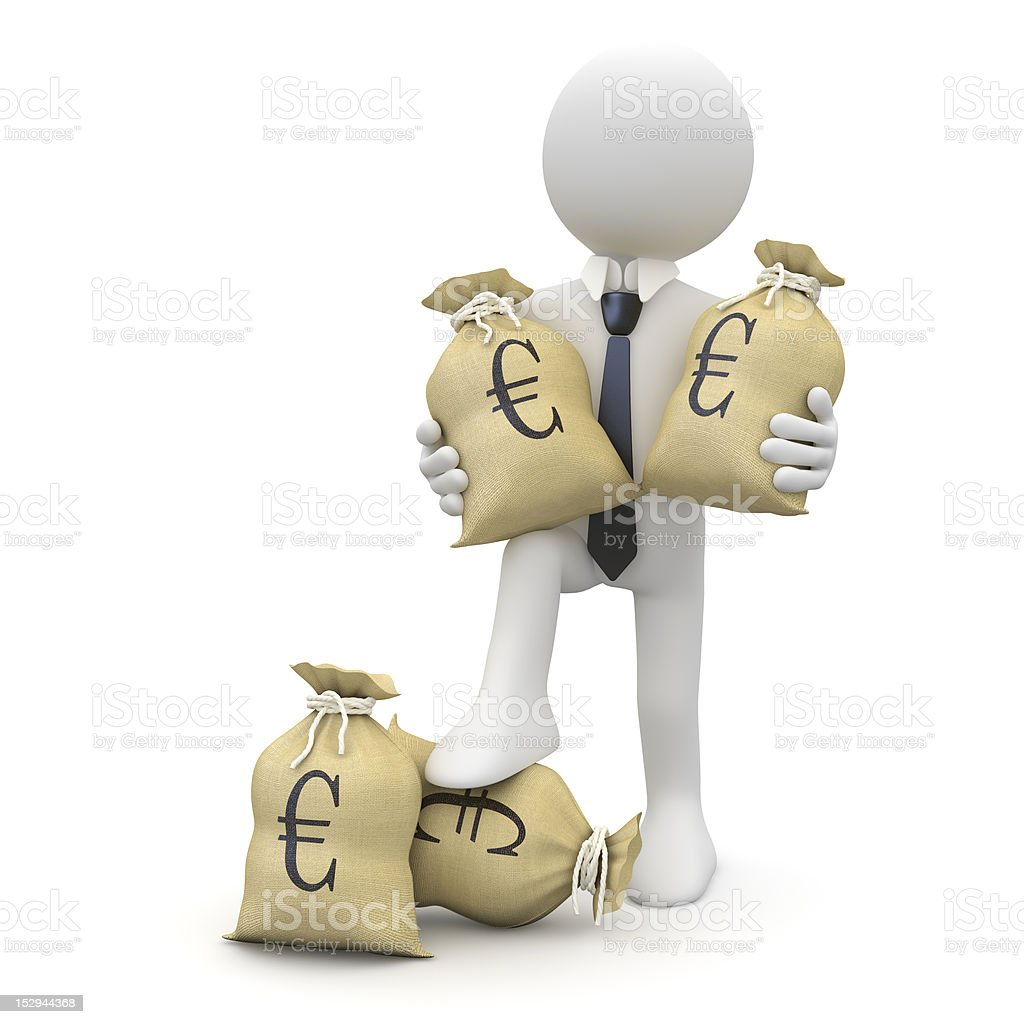 Businessman with bags of euros royalty-free stock photo