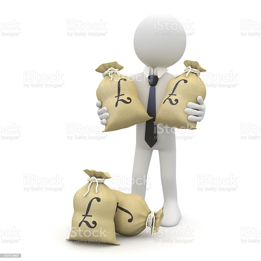 Businessman with bags of pounds royalty-free stock photo