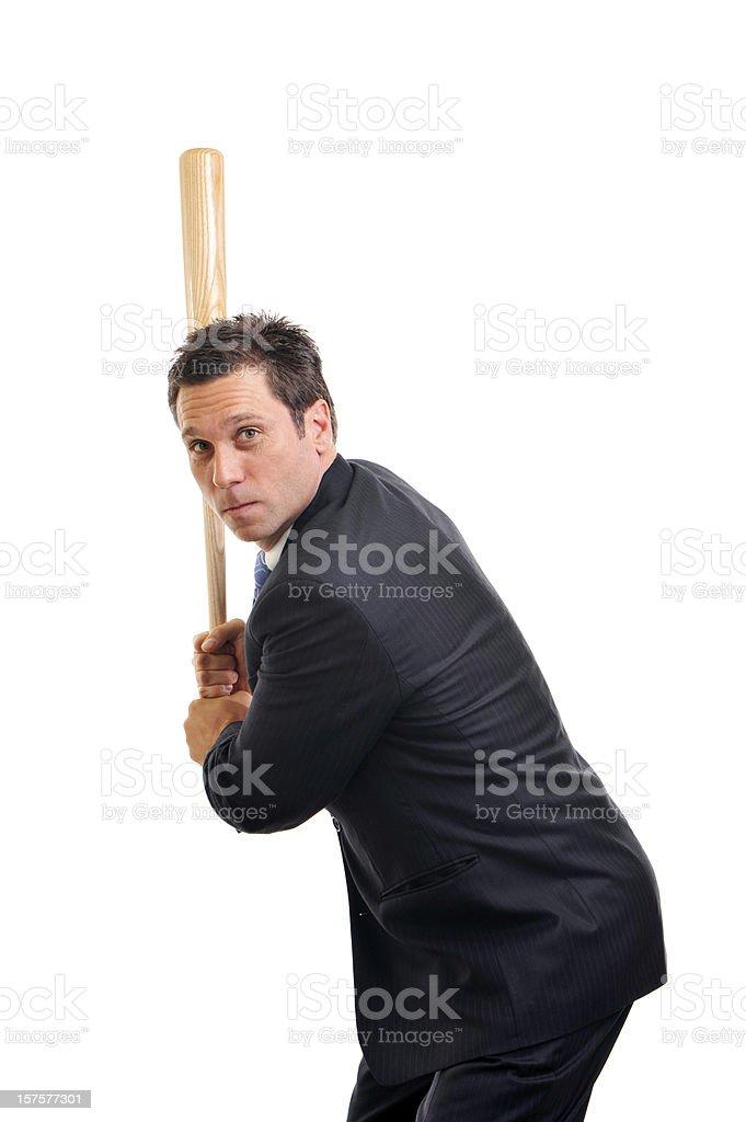 Businessman with Baseball Bat Isolated on White Background royalty-free stock photo