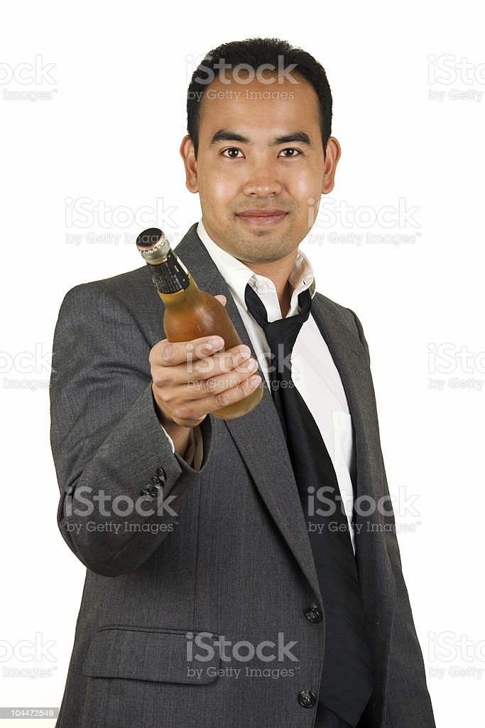Businessman with Beer Bottle stock photo