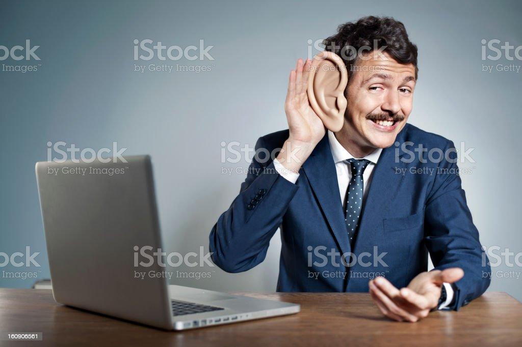 Businessman with big ear stock photo