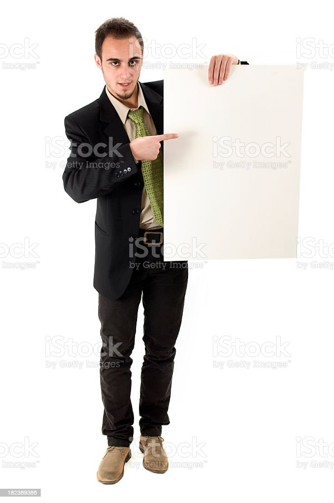 Businessman with billboard royalty-free stock photo