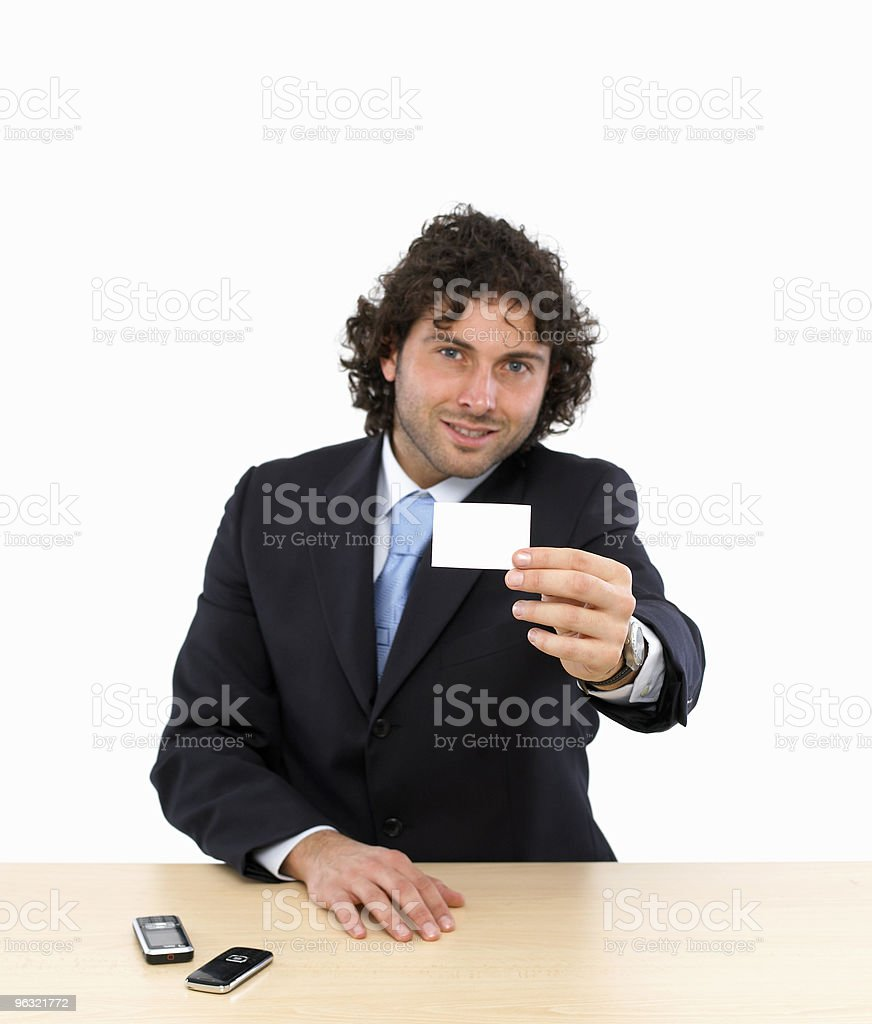 Businessman with Blank Business Card royalty-free stock photo