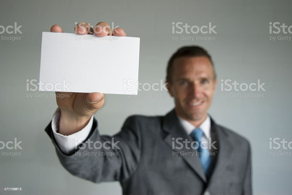 Businessman with Blank Index Card royalty-free stock photo
