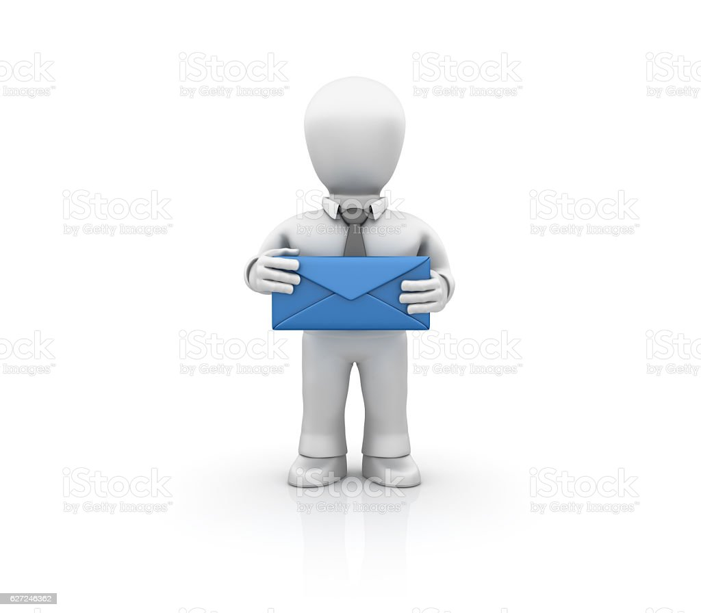 Businessman with Blue Envelope - 3D Rendering stock photo