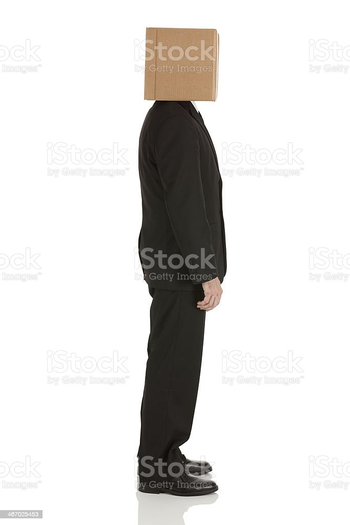 Businessman with box over his head royalty-free stock photo