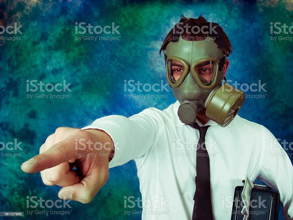 Businessman with  briefcase fully of money. stock photo