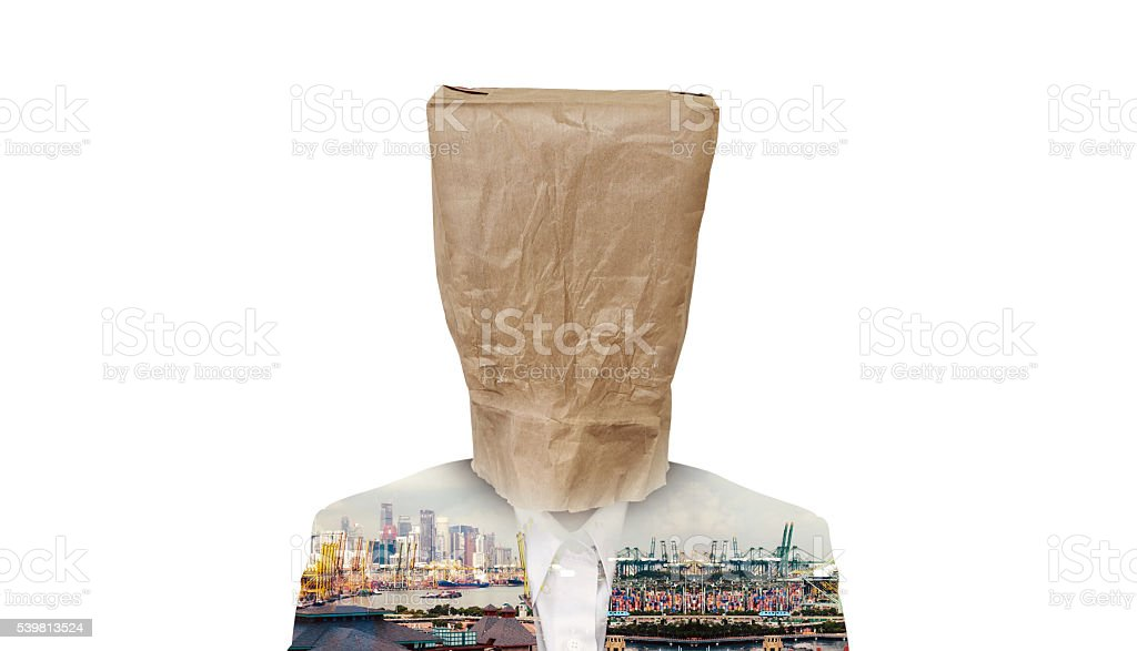 Businessman with brown paper bag on head, isolated stock photo