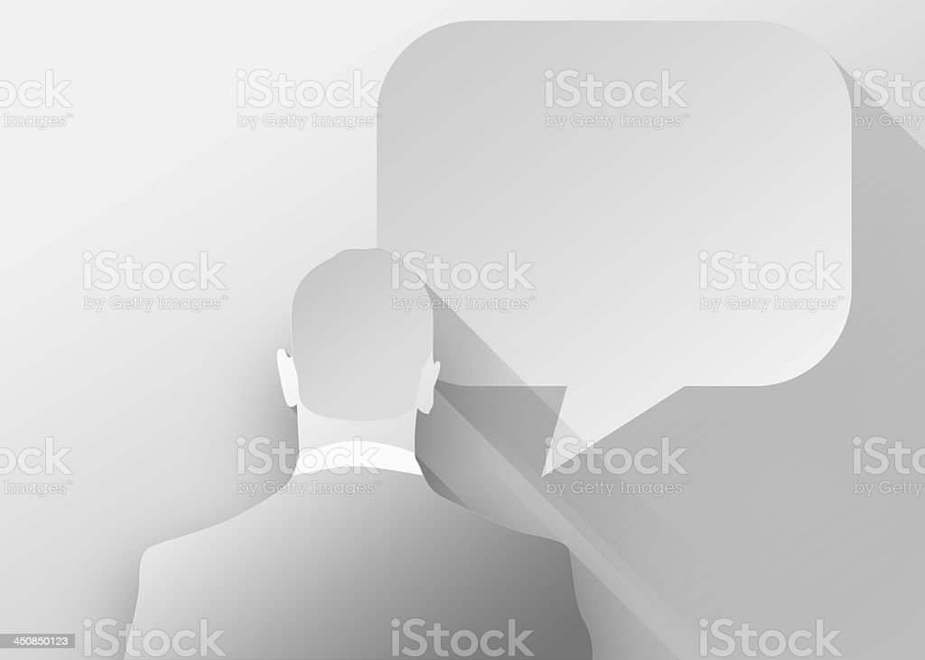 Businessman with bubble speech 3d illustration flat design royalty-free stock photo