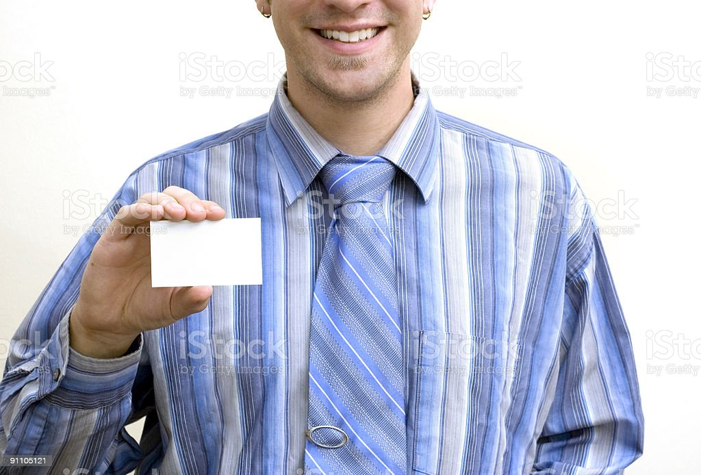 businessman with business card royalty-free stock photo