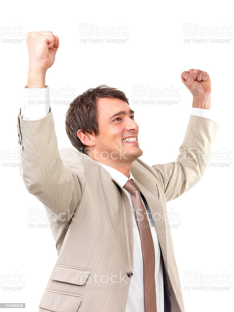 Businessman with clenched fist on white background royalty-free stock photo