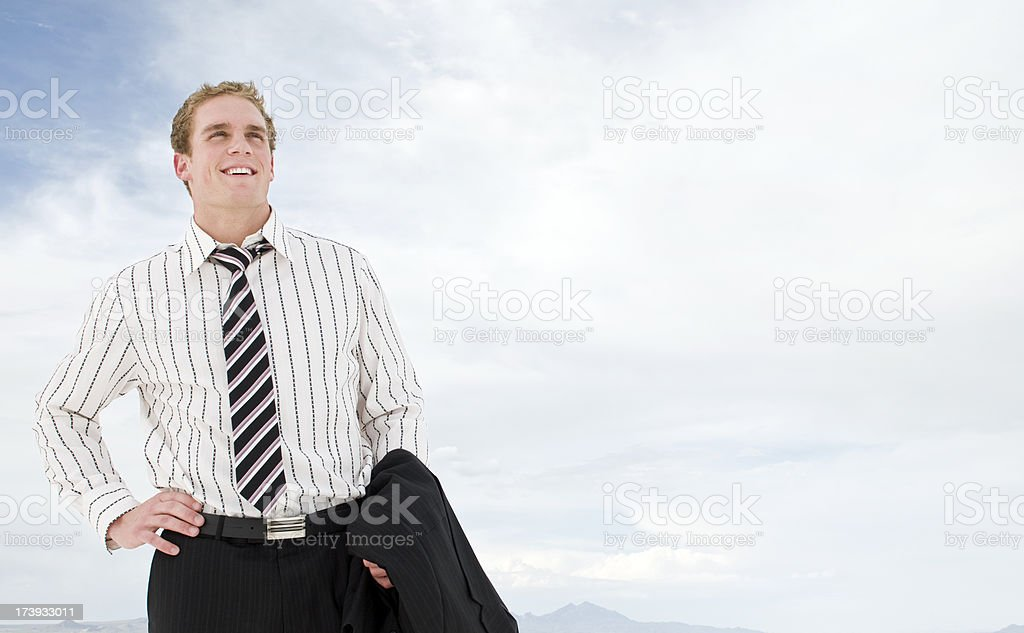 Businessman with coat stock photo
