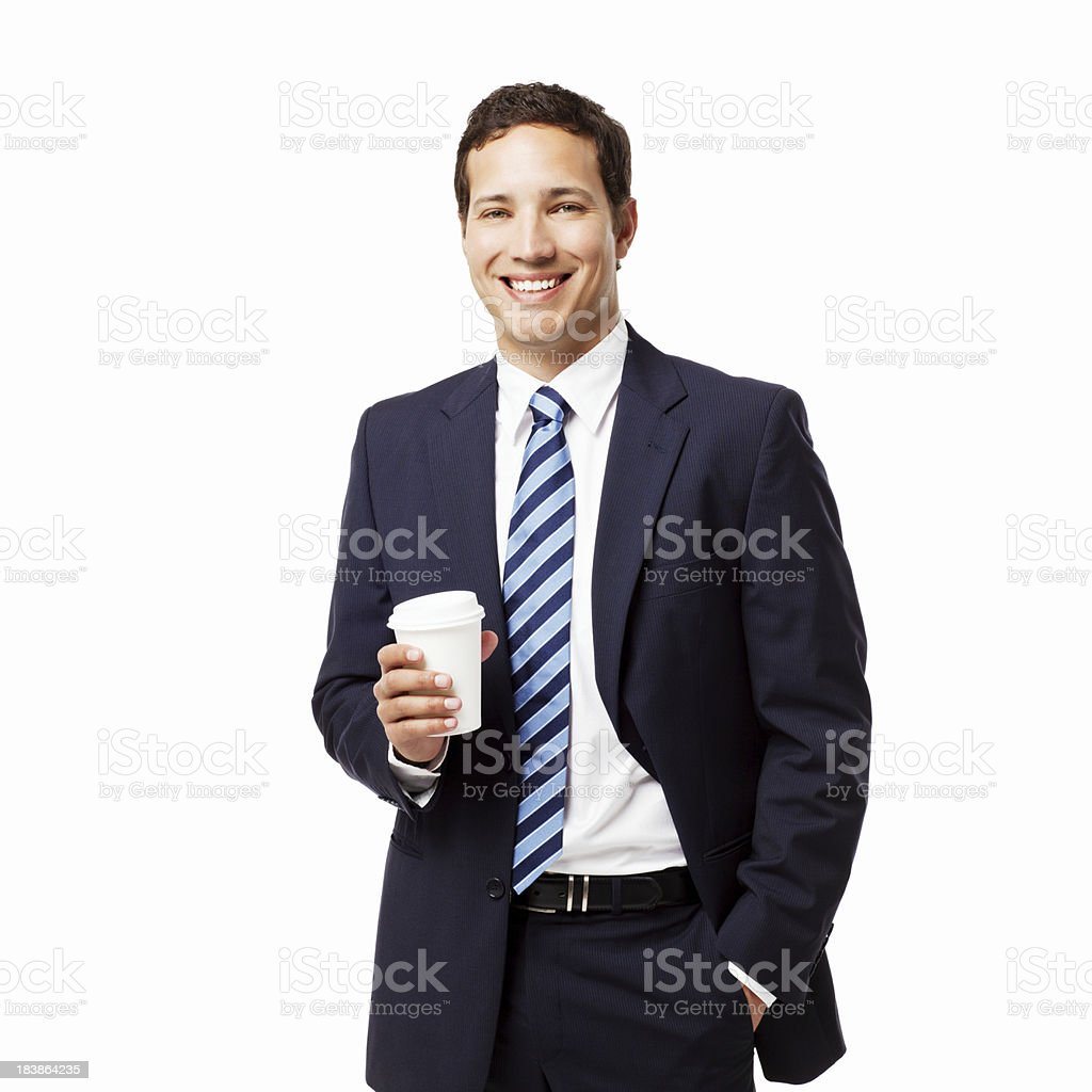 Businessman With Coffee - Isolated royalty-free stock photo