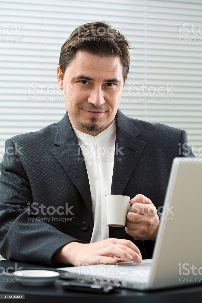 Businessman with coffee royalty-free stock photo
