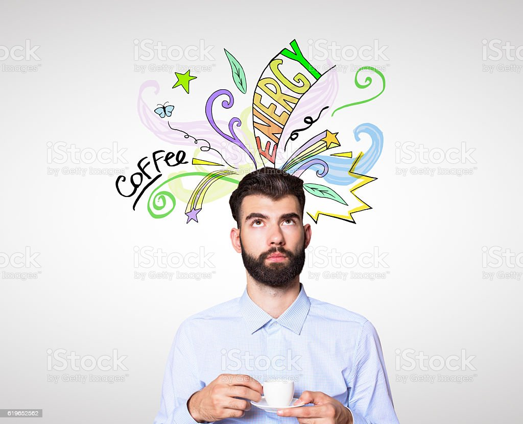 Businessman with coffee sketch stock photo