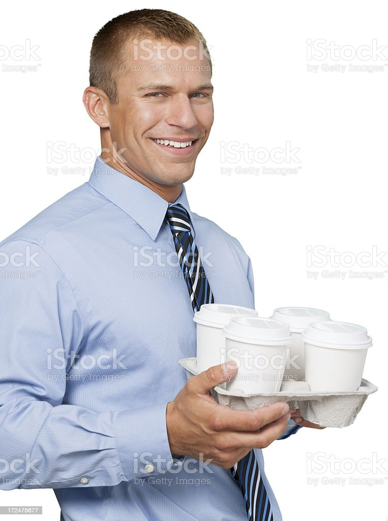 Businessman with coffee takeout. royalty-free stock photo