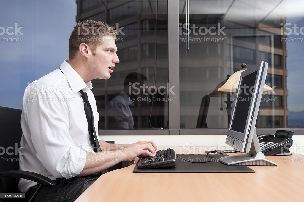Businessman with Computer Problems royalty-free stock photo