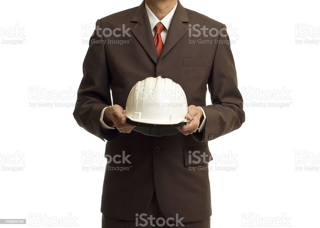 Businessman with construction helmet royalty-free stock photo