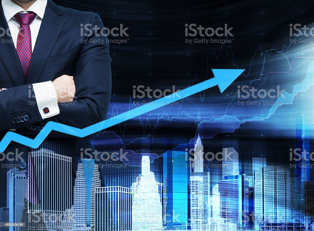 businessman with crossed hands. stock photo