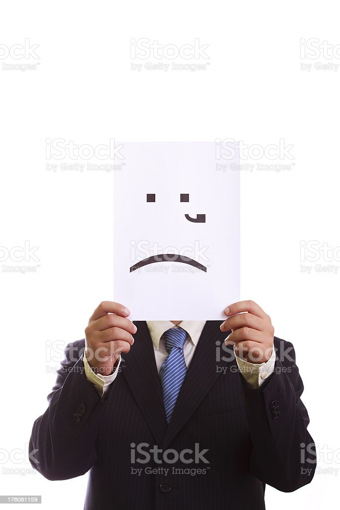 Businessman with crying emoticon royalty-free stock photo