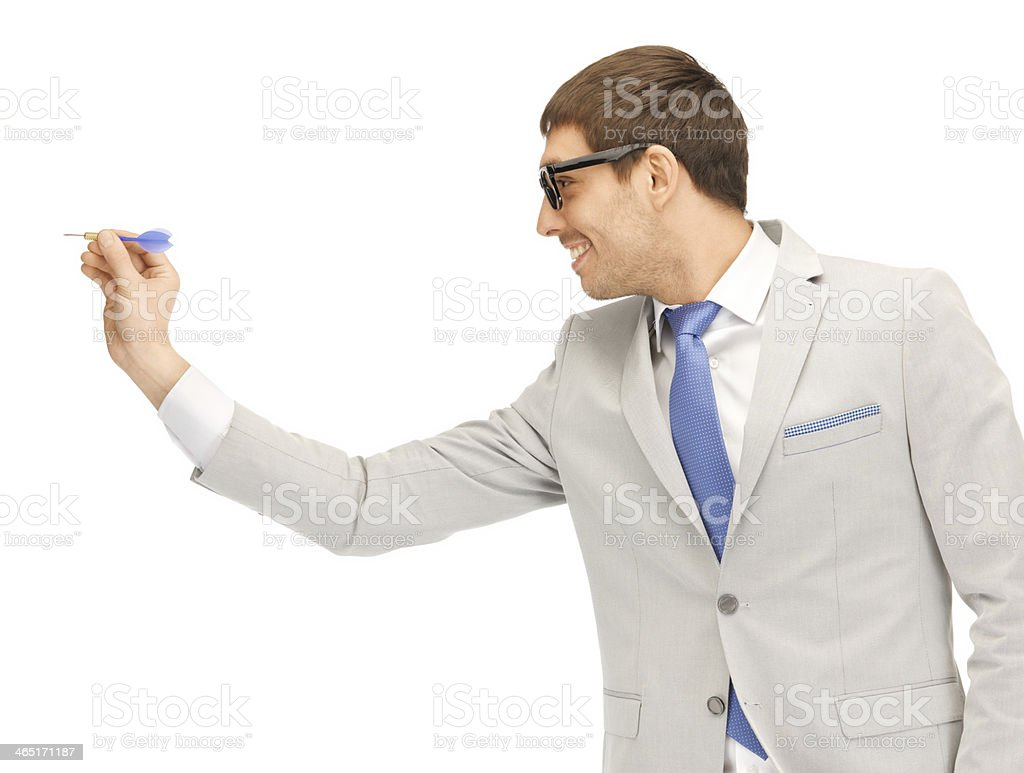 businessman with dart stock photo