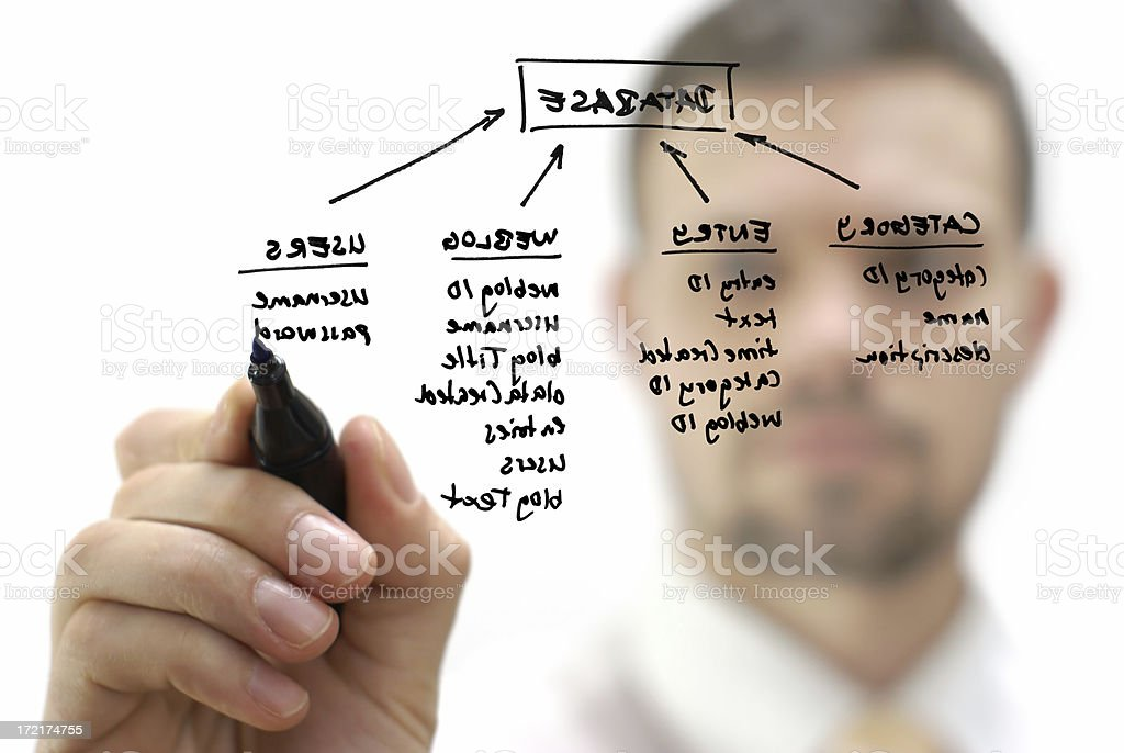 Businessman with database structure stock photo