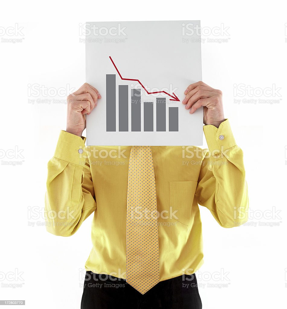 Businessman with Decreasing Chart royalty-free stock photo