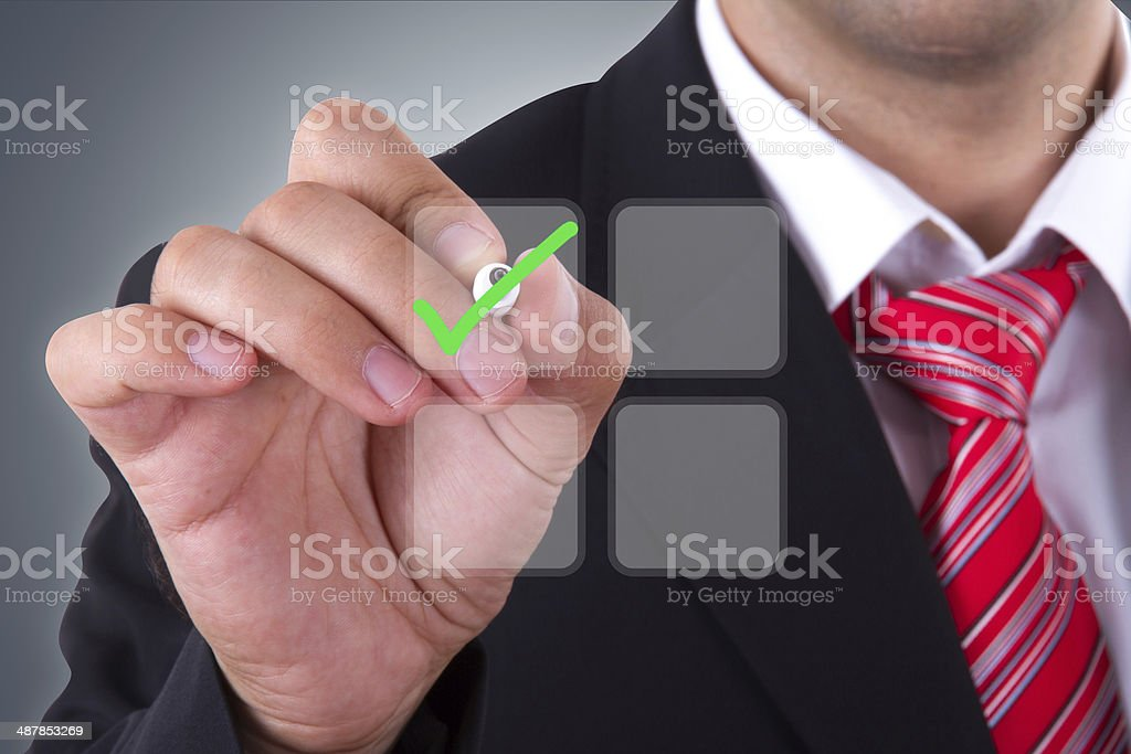 Businessman with Digital Screen stock photo