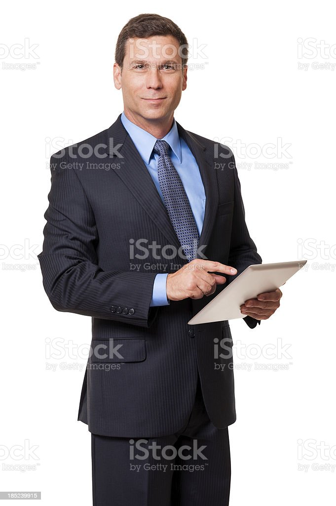 Businessman with Digital Tablet Isolated on White Background stock photo