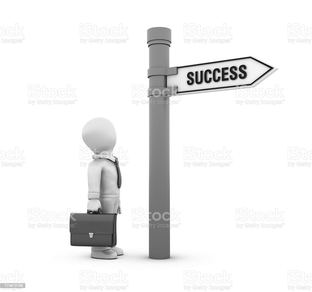 Businessman  with Directional Sign - Success royalty-free stock photo