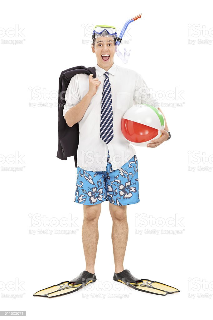 Businessman with diving mask and a beach ball stock photo