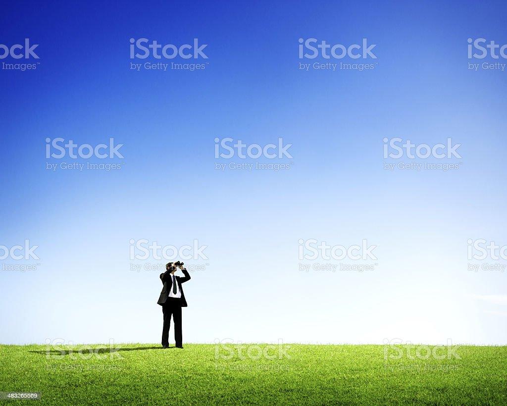 Businessman with Economic Perspective Concept stock photo