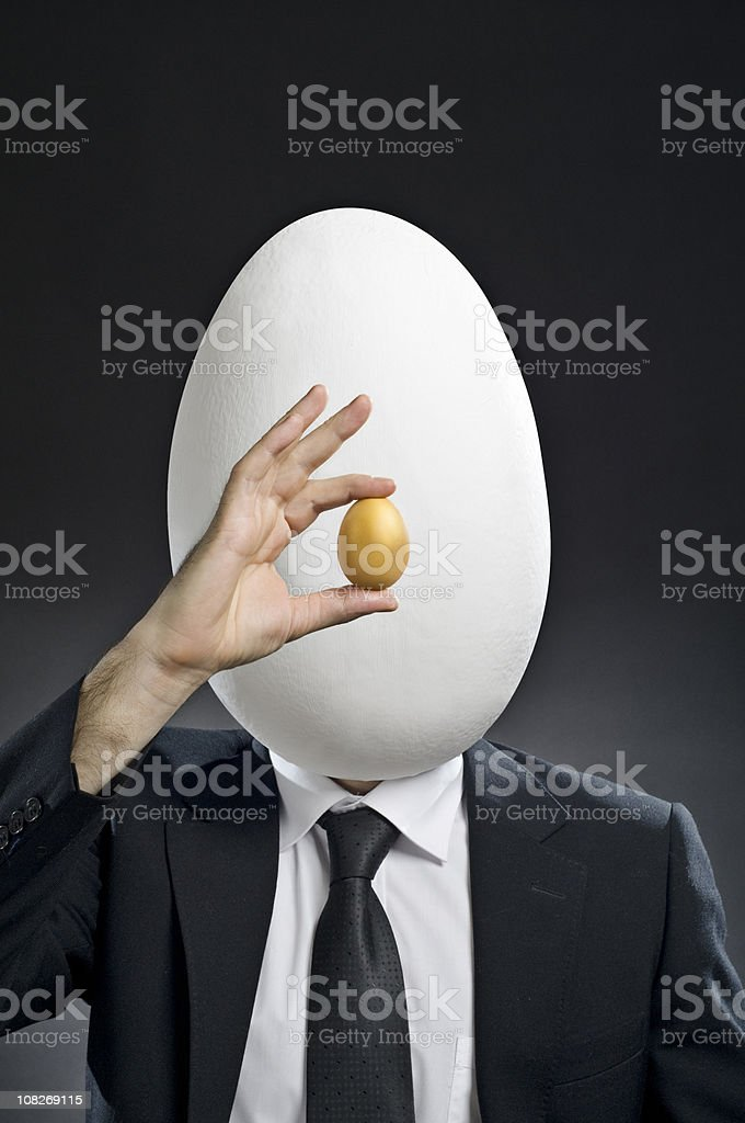 Businessman with Egg Head royalty-free stock photo