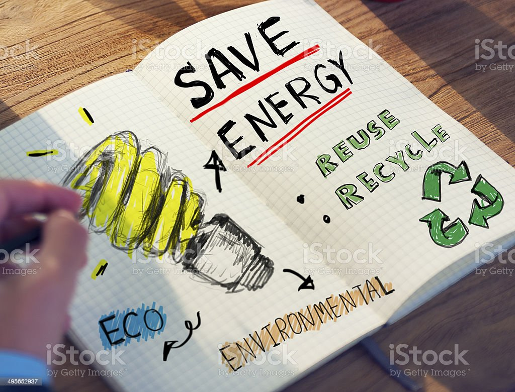 Businessman with Energy and Environmental Concept stock photo