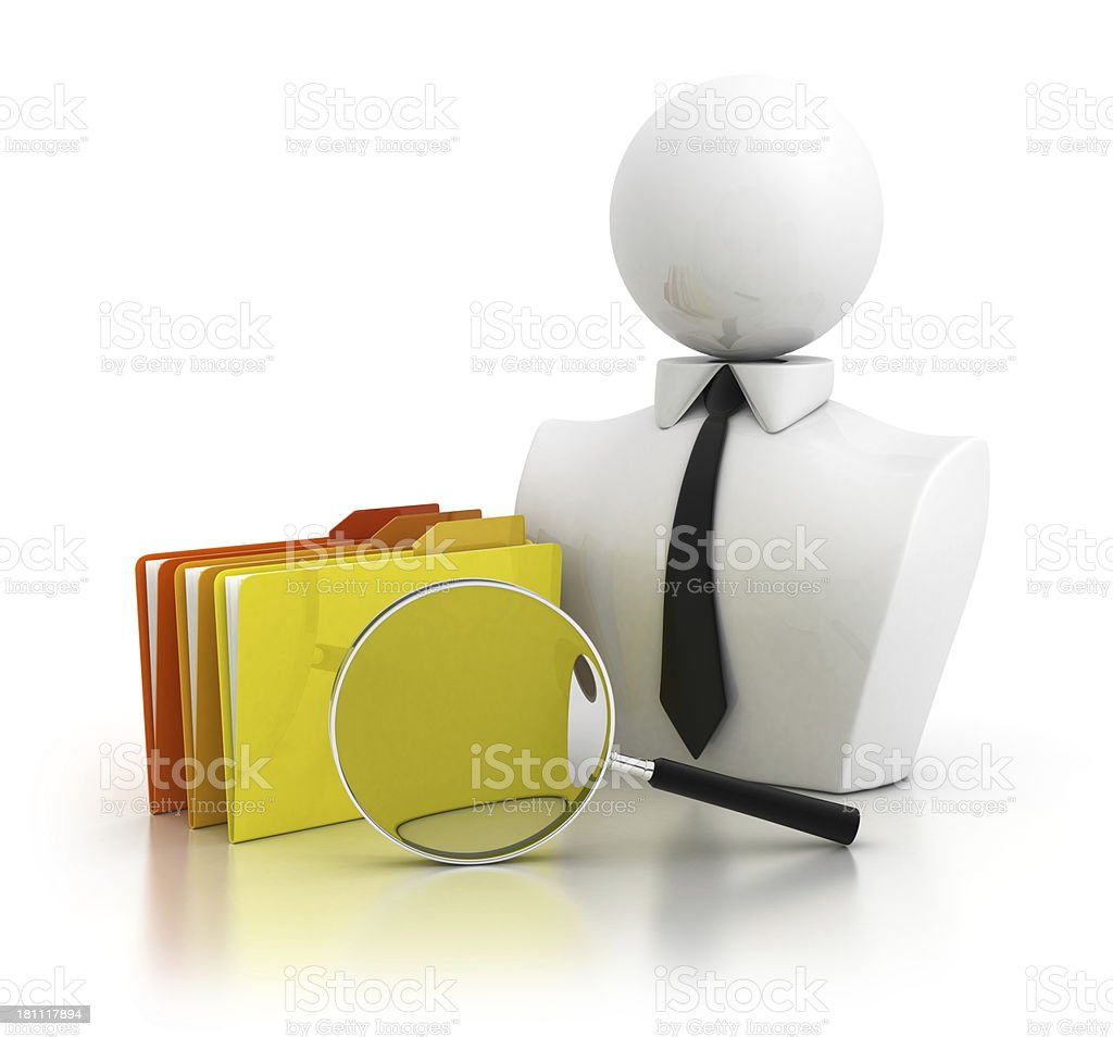 Businessman with folders and magnifying glasses royalty-free stock photo