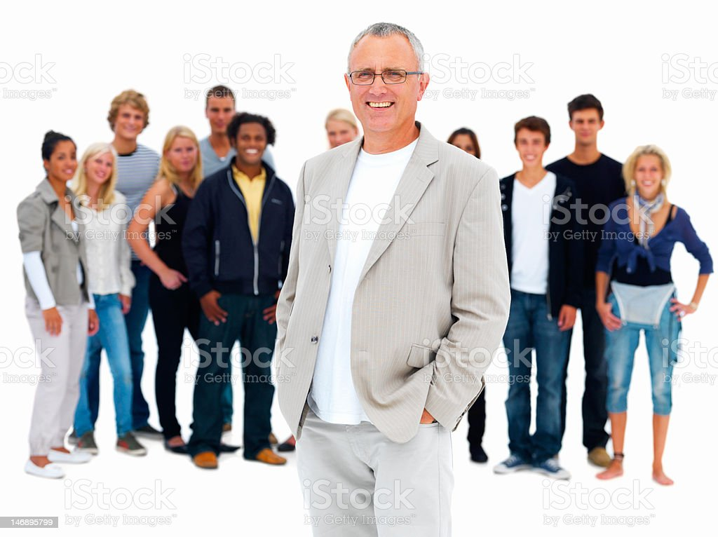 Businessman with friends in background royalty-free stock photo