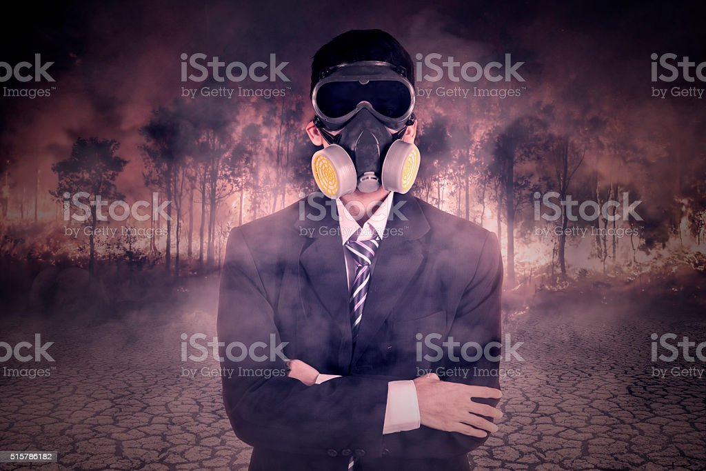 Businessman with gas mask and forest fire stock photo