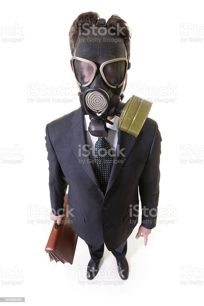 Businessman with Gas Mask, Isolated on White stock photo