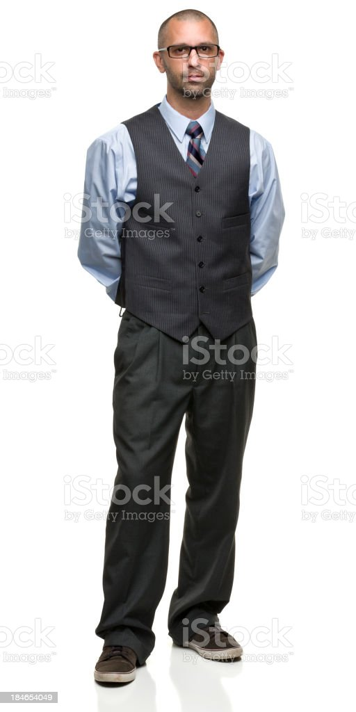 Businessman with glasses and casual shoes standing  royalty-free stock photo